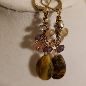 AVON GENUINE TIGERS EYE ACCENTED CHANDELIER EARRIN